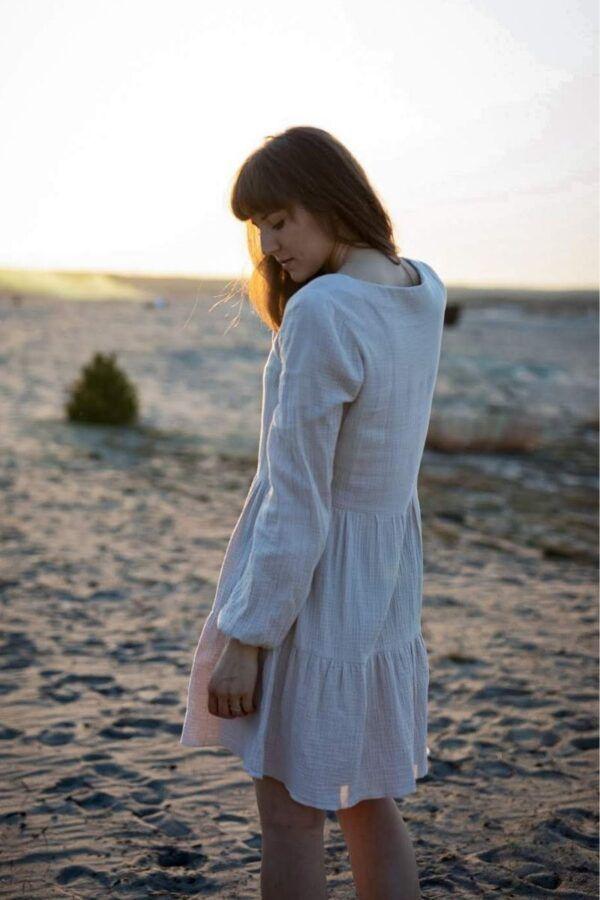 Sukienka RADOŚĆ z bawełny organicznej – beżowa