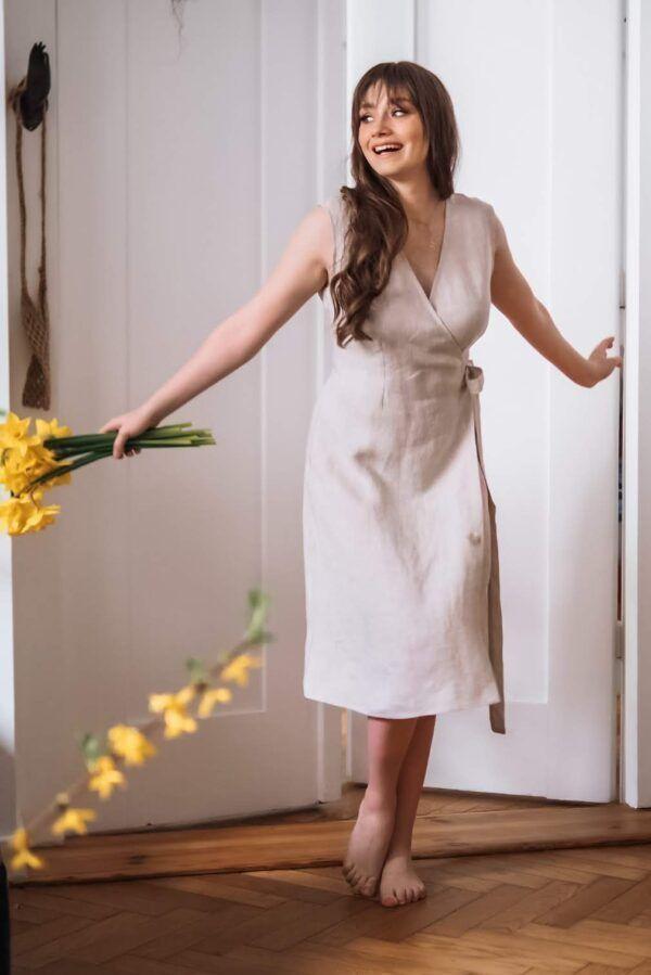lniana sukienka kopertowa