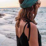 Lniano wiskozowy top z wiązanymi ramiączkami PURE BLACK